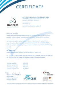 Certificate DIN EN 9100:2018