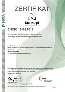 Zertifikat EN ISO 13485:2016